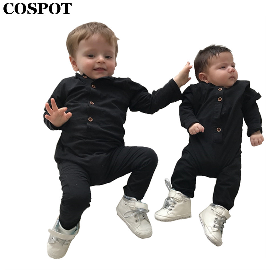 2017 New Fashion Baby Boys Rompers Newborn Cotton Long Sleeve Jumpsuit Boy Autumn Spring Plain Black Gray Clothes 30C newborn baby rompers baby clothing 100% cotton infant jumpsuit ropa bebe long sleeve girl boys rompers costumes baby romper