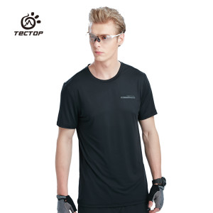 Tectop Outdoor Men Women Solid Color Round Neck Short Sleeve T-shirt Breathable Quick-drying Thin Elasticity Running T-shirt Wrench