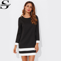Sheinside Striped Cuff And Hem Dress 2017 Black Round Neck Long Sleeve Shift Tunic Dress Women