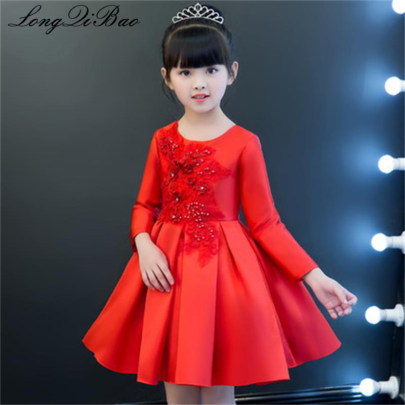 Baby girl cotton embroidery dress princess dress baby birthday dress in the big boy girl piano show dance costume winter long sl baby girl red children s dress princess dress long sleeve birthday flower girl dress girl piano host costume long winter