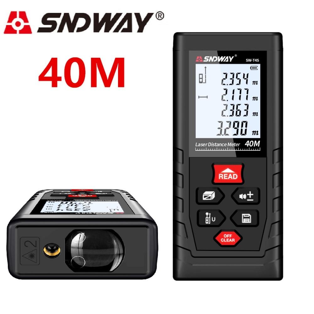 SNDWAY Laser Mètre de Distance 40 m Laser Range Finder Télémètre Laser Ruban à Mesurer Distance Règle Diastimeter Roulette Trena Outil