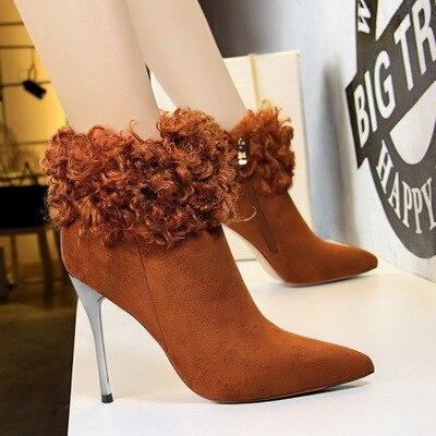 Pelz Heels Winter Stiefel Mode Frauen Schuhe Sexy Tops 2018 Nachtclubs Schwarzgr Neue Spitzen Schlank Mit lK3JcF1T