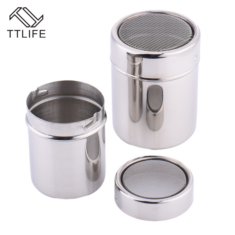 TTLIFE Stainless Steel Chocolate Shaker Cocoa Flour Icing Sugar Powder Coffee Sifter with Lid Coffee Filters Coffee AccessoriesTTLIFE Stainless Steel Chocolate Shaker Cocoa Flour Icing Sugar Powder Coffee Sifter with Lid Coffee Filters Coffee Accessories