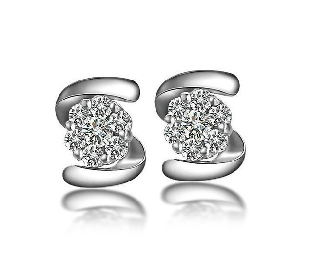 Aphrodite ZOCAI 0.27 CT CERTIFIED DIAMOND EARRINGS EAR STUDS ROUND CUT 18K WHITE GOLD