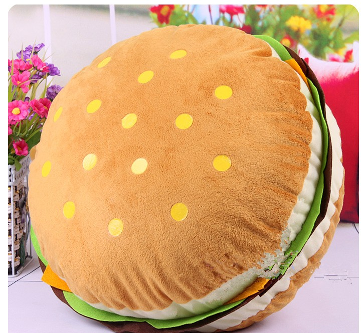 3D Plush Hamburger Sandwich Back Cushion 40*18cm Throw Bed Cushion Hot Personalized Fashion Pillow Washable