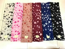 2017 Newest Small And Big Heart Print Scarf Women Long Fashion Shawl Floral Print Scarf Hijab Wrap 6 Color Free Shipping