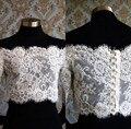 Chegada nova Branco Marfim Lace Jacket Frete Grátis Bateau Sexy Metade Mangas Compridas Laço Nupcial Wraps Coberto Botão Voltar