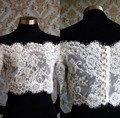 New Arrival White Ivory Lace Jacket Free Shipping Bateau Sexy Half Long Sleeves Lace Bridal Wraps  Covered Button Back