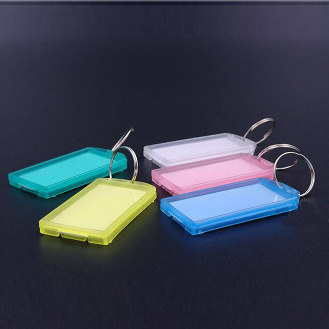 5pcs Metal Ring Colorful Plastic Key Fobs Luggage ID Card Name Label Tag Keyring Keychain Classification Free Shipping