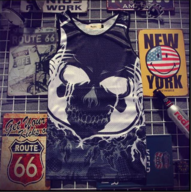 d7f3f9791e996e Hip-hop Skull Tank Tops Men s 2018 Summer 3d Mesh Vest Fit Slim Sleeveless  Tee Shirts ventilate Bodybuilding Clothing 4XL
