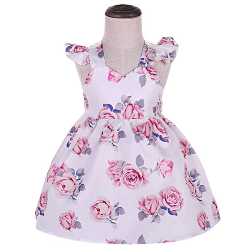 2018 Hot Summer Baby Girls Dress V Neck A Line Sleeveless Bandages Floral Printed Dress  ...
