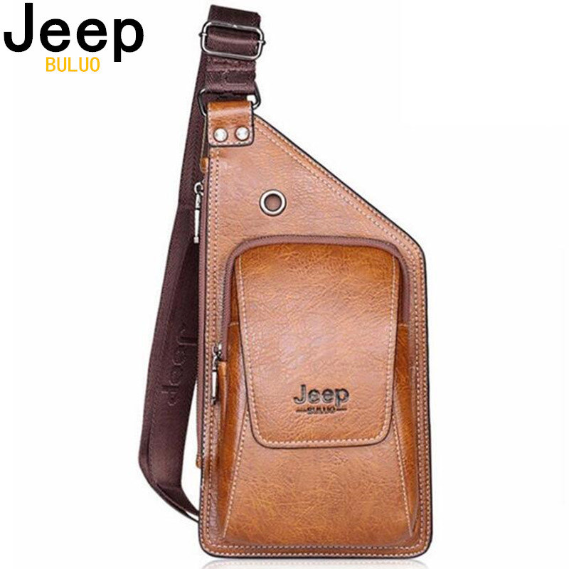 JEEP BULUO Brand Bag Men Chest Pack Single Shoulder Strap Back Bag Split Leather Travel Men Crossbody Bags Vintage Chest Bag 633 grille
