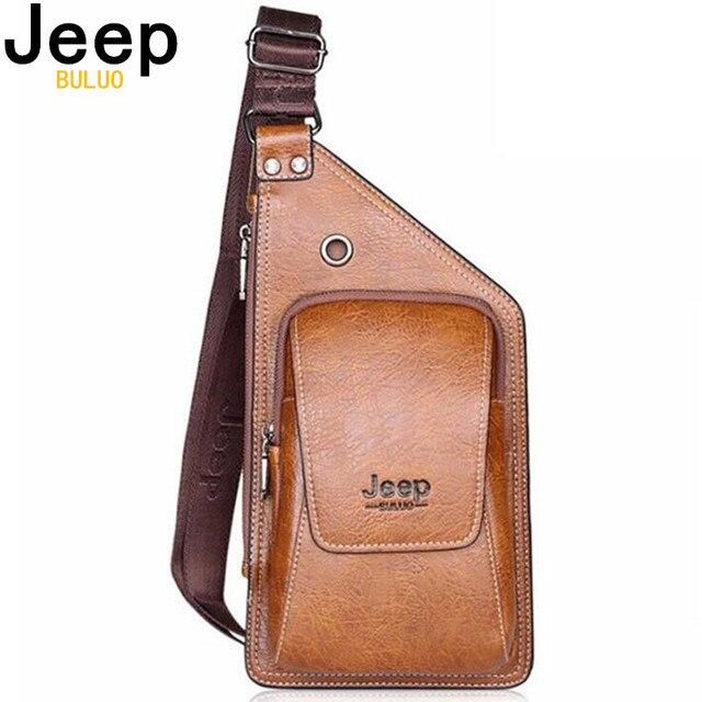 JEEP BULUO été sac hommes poitrine Pack unique bandoulière dos sacs en cuir voyage hommes sacs à bandoulière Vintage poitrine sac 633