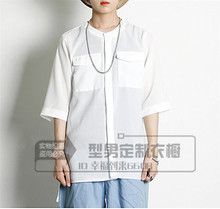S-5XL!!!Low-high shirt basic shirt o-neck pullover popper fluid personalized men's clothing outerwear