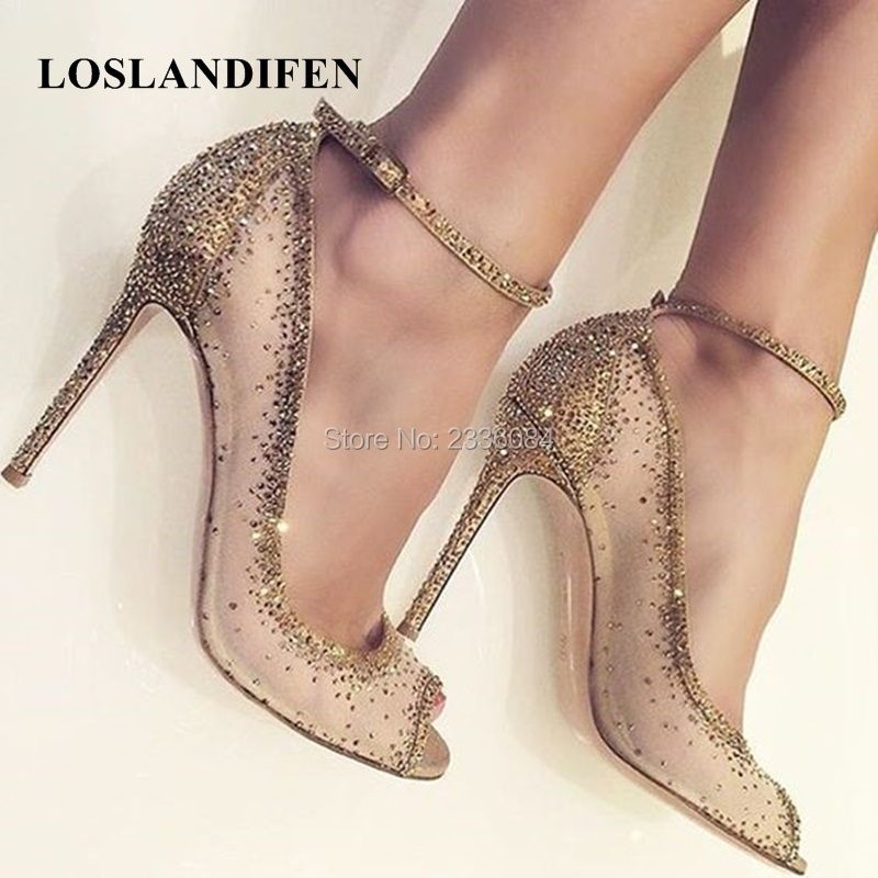 Brand New Runway Shoes Stunning Bling Sandalias Point Toes Ankle Strap High Heeled Sandals Woman Summer Shoes Dress Shoes