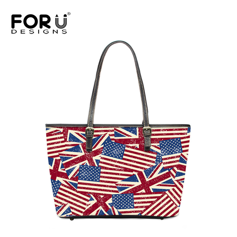 Forudesigns Luxury Handbags Women Brand Us Uk Flag Designer Bags Striped Printed High Quality Pu Leather