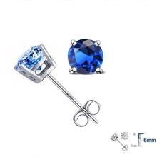 Elegant Genuine 925 Sterling Silver Crystal Stud Earrings Fi