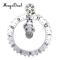 MagiDeal 3D DIY Large Wall Clock Art Antique Style Mechanical Calendar for Living Room Wall Home Decorations Silver