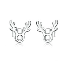 Girl Antlers Stud Earrings Sterling Silver 925 Elk Animal Earings Anti-allergy For Children Gifts Bse116