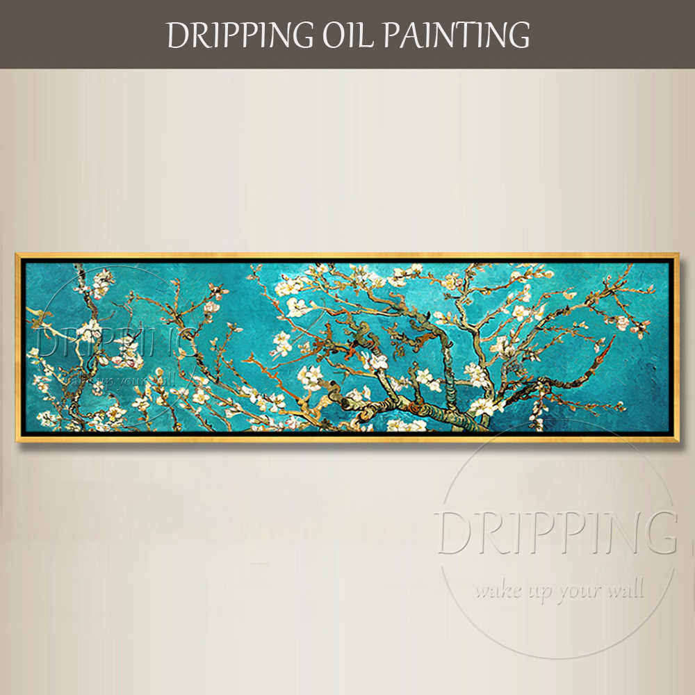 Чистая ручная роспись супер длинный размер Цветущая миндаль картина маслом красивый цветок цветы картина маслом для оформление спальни