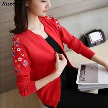 30 new spring Korean slim raglan sleeve embroidery shawl sweater cardigan coat F1592 Xnxee