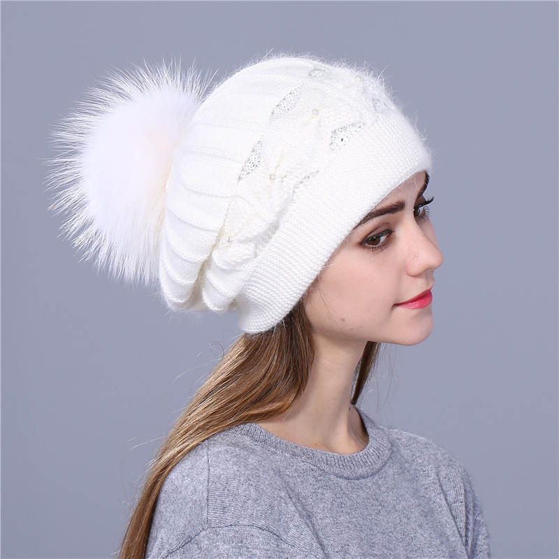 Xthree Winter Autumn beret hat for women knitted hat Rabbit fur beret - Apparel Accessories - Photo 2