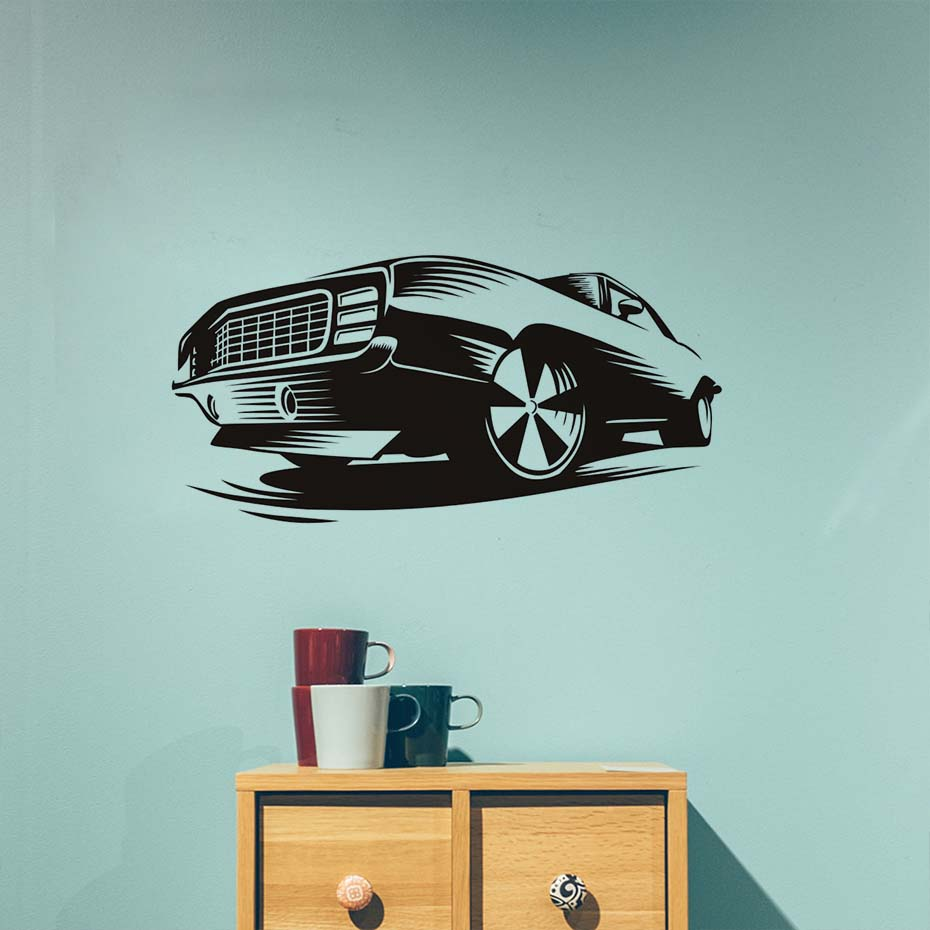Race Muscle Car Wall Decals Decor Sticker Art Vinyl Mural Automobile  Beautiful Design Art Headboard Wall Stickers Home Decor  In Wall Stickers  From Home ...