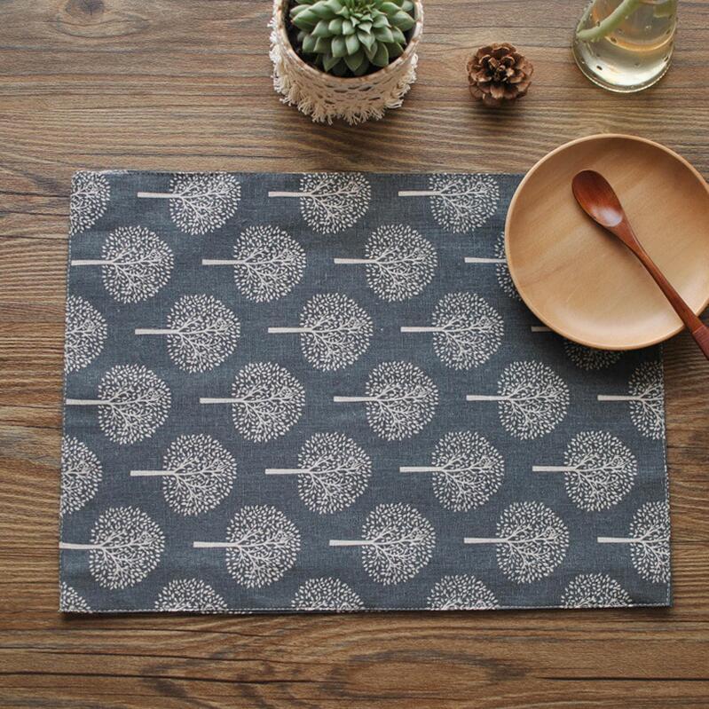 tapis d isolation thermique de 4 pieces set de table haut de gamme en lin de jute a imprime d arbre tapis de table a manger tapis de tasse de