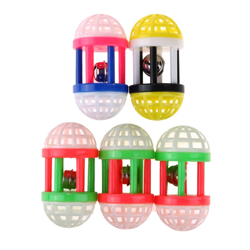 5pcs Cat toys Plastic Chew Dumbbell Toys Pet Dog Cat Training Sound Toy Colorful Plastic Chew Dumbbell Bell
