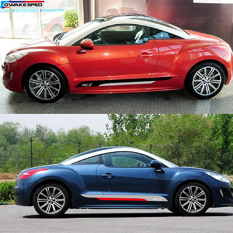 Image 2 - Auto Door Side Skirt Stripes Sport Styling KK Vinyl Decal Car Accessories Body Customized Sticker For PEUGEOT RCZ 2011 2014-in Car Stickers from Automobiles & Motorcycles