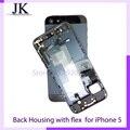 Negro/blanco/oro caso lleno de la cubierta de piezas de repuesto para iphone 5 aleación de metal cubierta posterior + flex cable + conjunto de botones imprimir imei