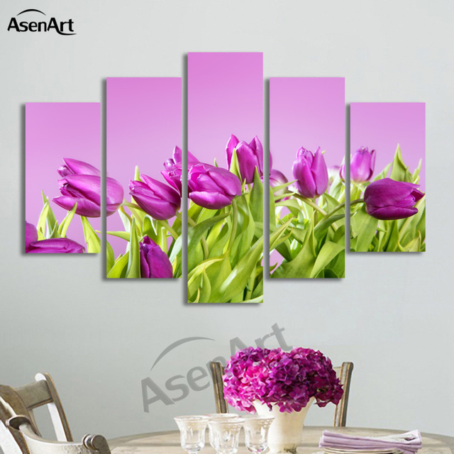5 Panel Wall Art Purple Flower Painting Modern Art Picture for ...
