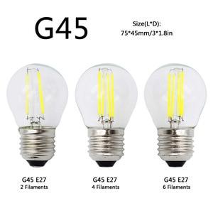 Image 2 - A60 G45 Vintage Dimmable LED Filament Light Bulb E27 COB Bulbs 2/4/6/8 Filaments 220V 230V Lampada 10W 15W 20W 25W