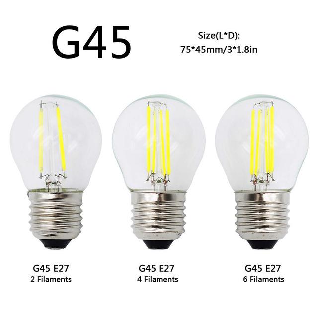 A60 G45 Vintage Dimmable LED Filament Light Bulb E27 COB Bulbs 2/4/6/8 Filaments 220V 230V Lampada 10W 15W 20W 25W