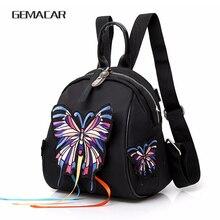226b7a42dd15 Повседневное бабочка маленький рюкзак для обувь девочек в этническом стиле  для женщин Вышивка Тигр сумка черный