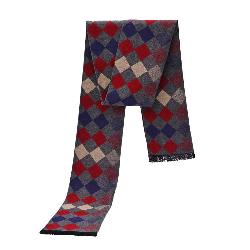 New Design font b Tartan b font Scarves Men Winter Luxury Brand Cashmere Scarf Thick Rhombus