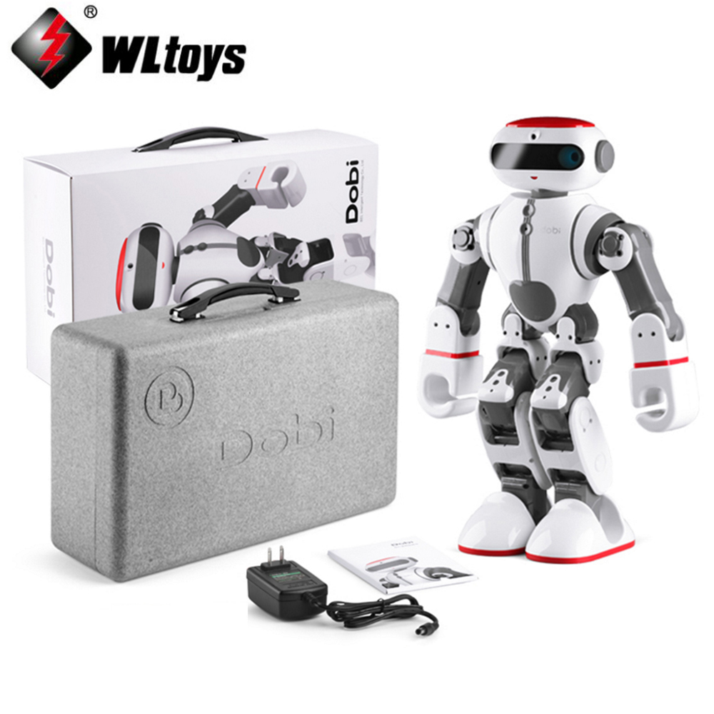 все цены на EMS/DHL shipping ! Wltoys F8 Dobi Intelligent Humanoid Voice Control Multifunction RC DIY Robot For Children Gifts онлайн