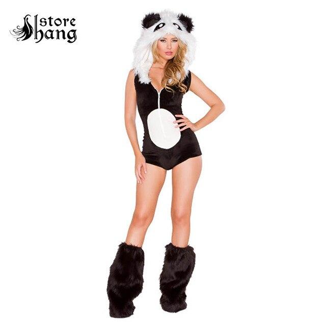flauschigen panda kostum sexy frauen mit kapuze trikot tier kostum phantasie kleid pelzigen kostum mit beinlinge