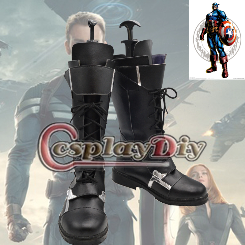 Captain America The Winter Soldier Cosplay Boots Shoes Adult Men's PU Shoes Custom Made saint seiya cosplay shoes boots anime shoes for adult men s halloween cosplay accessories custom made