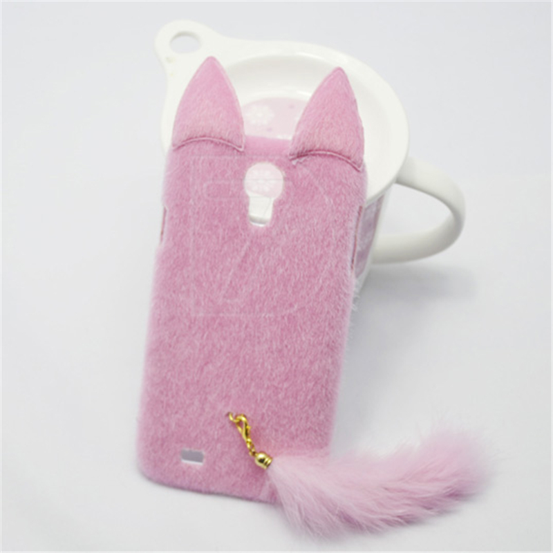 online store 56edc 6801d For Samsung S4 Case 3D Cartoon Cute Plush Girl Cover With Cat Ears & Tail  Back Cover Case For Samsung Galaxy S4 i9500 Funda Capa