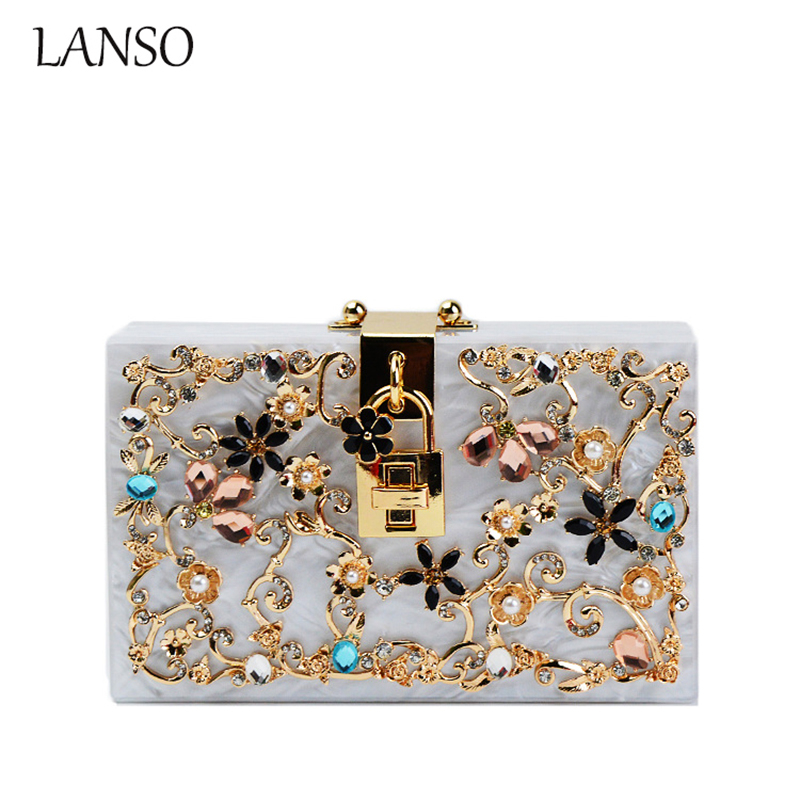 ФОТО High-Quality New Acrylic Diamond Flower Luxury Design Clutch Evening Party Chain Messenger Bag Ladies Banquet Glisten Purse