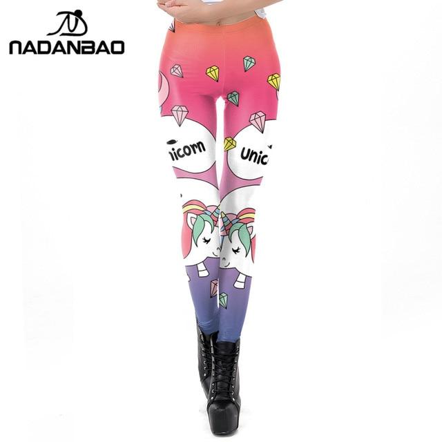 4854b36cc4d7e3 NADANBAO 2019 Spring 3D Unicorn Leggings Women Diamond Printed Workout  Legging Flexible Fitness Leggins Puls Size Female Legins