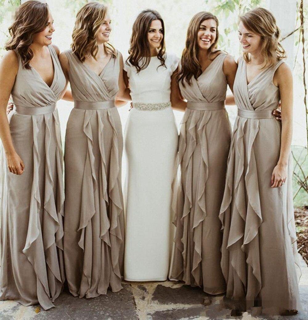 Elegant   Bridesmaid     Dresses   Long Chiffon Ruffles Vestido De Novia Wedding Party   Dresses   Vestido De Festa Custom Made Women   Dress