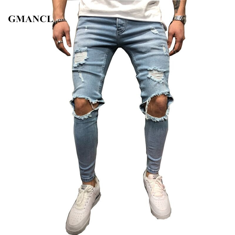 2018 New Brand Slim Fit Ripped Jeans Men Blue & Black Hi-Street Mens Distressed Denim Joggers Knee Holes Washed Destroyed Jeans