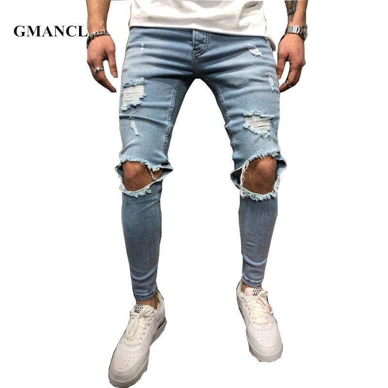 Новинка 2018, брендовые облегающие рваные джинсы, мужские синие и черные джинсы с потертостями, потертые джинсы для бега, потертые джинсы до к...