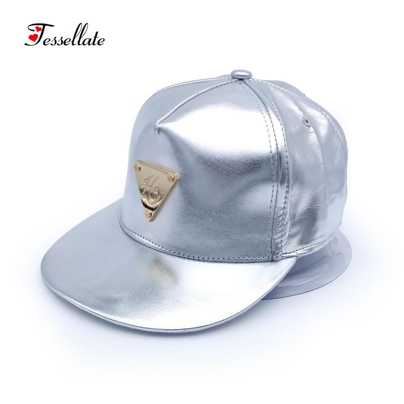 tessellate fashion font gold silver color leather hip hop cap unisex baseball pendant charm sequin