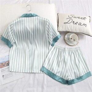 Image 2 - Yaz yeni buz ipek rahat yaka kısa kollu kadın pijama çizgili ince kesit nefes pijama