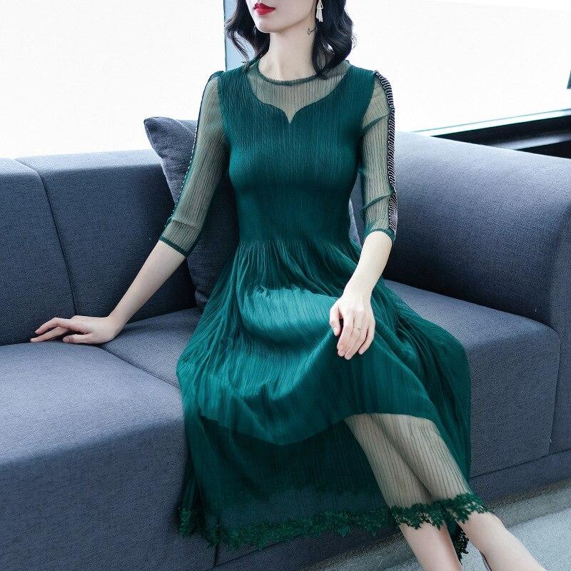 green De blue Nuevas Las Malla Tamaño Bordado Gran red Clavado 2019 Vestido Mujeres Black Perla OqdwTRU