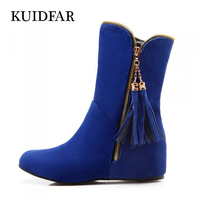 Autumn And Winter Fashion Women Boots Fringe Tassels Buckle 2017 Round Toe Flock Women Boots Thick