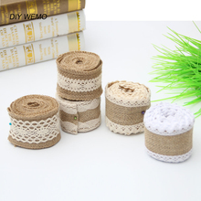 5Meter Jute Burlap Ribbon rolls Hessian Ribbon with Trims Tape for diy Wedding Centerpieces party decorations Cake Supplies